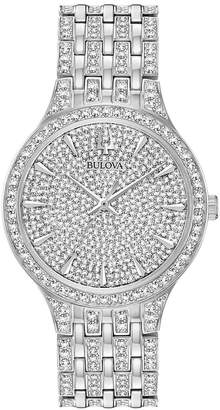 Bulova Men Phantom Crystal-Accent Stainless Steel Bracelet Watch 40mm