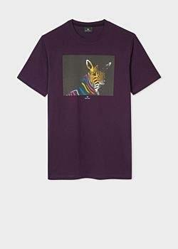 Paul Smith Men's Violet Organic-Cotton 'Zebra' Print T-Shirt
