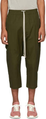 Rick Owens Green Drawstring Cropped Trousers