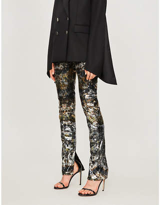 Mary Katrantzou High-rise flared sequinned trousers