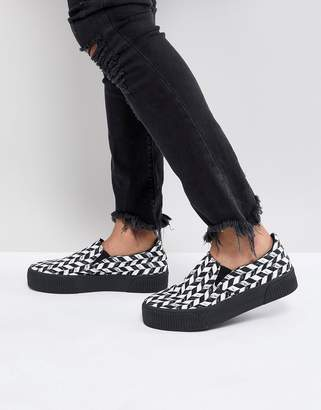 Asos DESIGN slip on sneakers with diagonal checkerboard and chunky sole