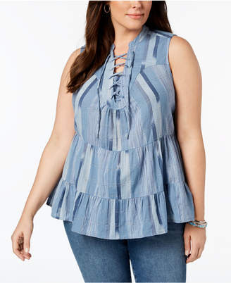 Style&Co. Style & Co Plus Size Cotton Striped Lace-Up Ruffled Top, Created for Macy's