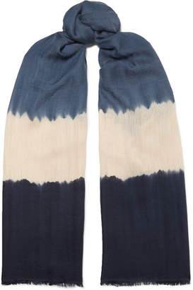 MELT - Tara Tie-dyed Cashmere And Silk-blend Scarf - Blue