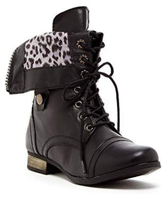 Charles Albert Women's Cablee Combat Boot Leopard Foldover Cuff in Black Size: 9