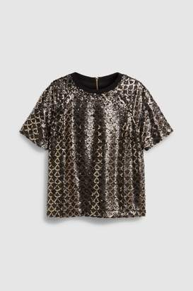 Next Womens Gold Sequin Top