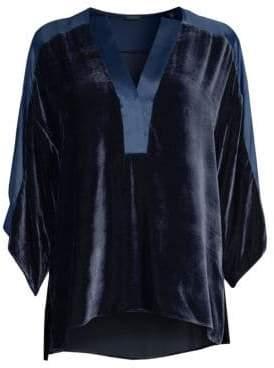 Elie Tahari Women's Nolia Velvet Blouse - Fjord - Size Medium