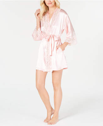 Thalia Sodi Lace-Trim Short Wrap Robe