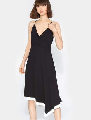Halston Colorblocked Ruched Front Dress
