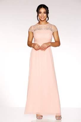 Quiz Peach Chiffon Embellished Bodice Maxi Dress