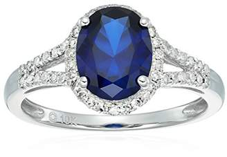 10k White Gold Created Sapphire and Diamond Oval Halo Engagement Ring (1/5cttw