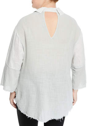 XCVI Neta Button-Down Distressed Blouse, Plus Size