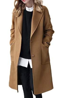 Sevozimda Womens Wool Coats Trenchcoat Long Sleeve Winter Woolen Long Overcoat Outwear 4XL