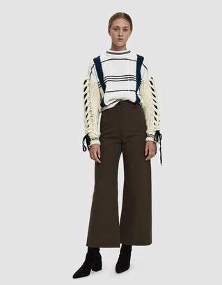 Carven Contrast Cable Knit Sweater