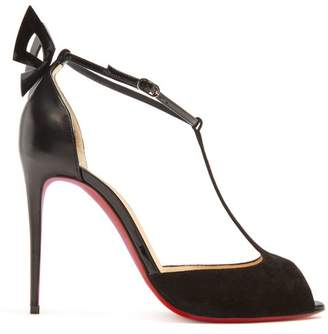 Christian Louboutin Aribak 110 Leather And Suede Sandals - Womens - Black