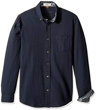 Tailor Vintage Men's Long Sleeve Seersucker Cotton Linen Shirt