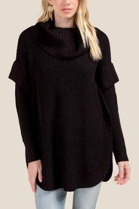 francesca's Eliza Long Sleeve Cowl Poncho - Black