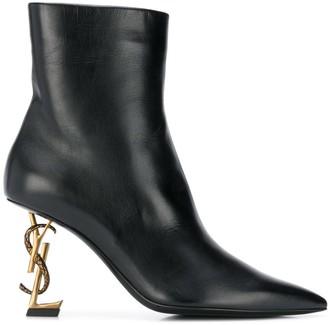 Saint Laurent logo heel pointed boots