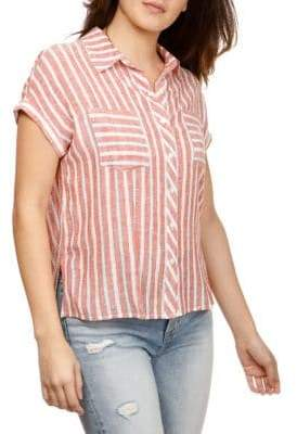 Lucky Brand Short-Sleeve Striped Button-Down Shirt