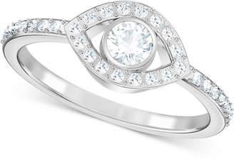 Swarovski Silver-Tone Crystal Eye Ring