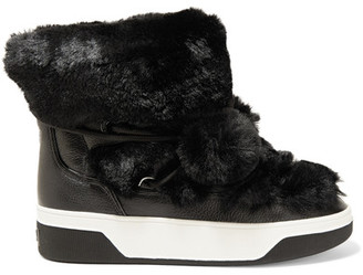 MICHAEL Michael Kors - Nala Textured-leather And Faux-fur Boots - Black $185 thestylecure.com