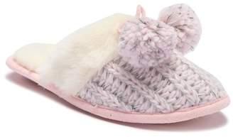 Jessica Simpson Metallic Knit Faux Fur Slipper