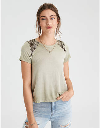 American Eagle AE Soft & Sexy Lace Inset T-Shirt