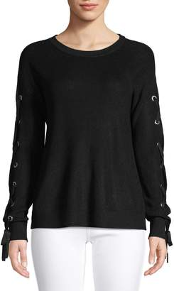 INC International Concepts Lace-Up Grommet Sleeve Pullover Sweater