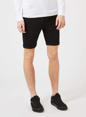 Topman Black Stretch Skinny Denim Shorts