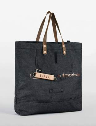 Calvin Klein denim love tote bag