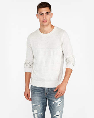 Express Tuck Stitch Striped Crew Neck Sweater