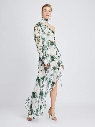 Oscar de la Renta One-Shoulder Grape Leaves Silk-Chiffon Dress