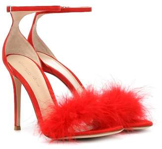 Gianvito Rossi Exclusive to Mytheresa – Bliss feather-trimmed suede sandals