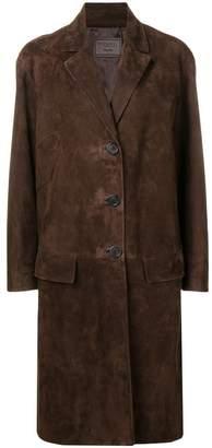 Prada single-breasted suede coat
