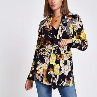 River Island Black floral print belted blazer jacket