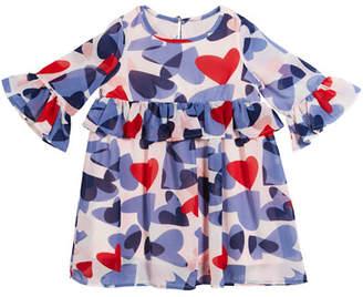 Kate Spade Confetti Heart Long-Sleeve Dress, Size 2-6x