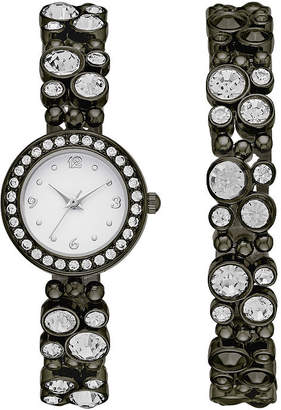 GENEVA Geneva Womens Black Glitz Watch Boxed Set