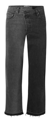 Monse Two-tone Distressed Mid-rise Straight-leg Jeans - Charcoal