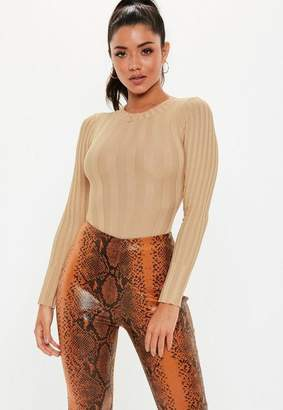 Missguided Tall Camel Extreme Ribbed Crew Neck Bodysuit