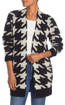 Free Press Houndstooth Open Front Pocket Cardigan