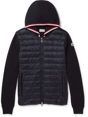 Moncler Cotton And Quilted Shell Down Zip-Up Hoodie