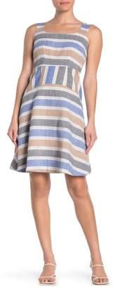 Taylor Engineered Stripe Square Neck Dress