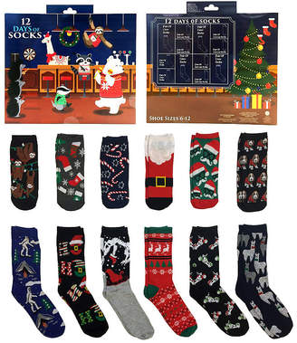 Novelty Licensed 12 Days of Socks Gift Box Holiday Crew Socks-Mens