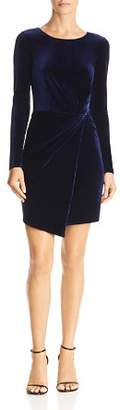 Aqua Twist-Front Long-Sleeve Velvet Dress - 100% Exclusive