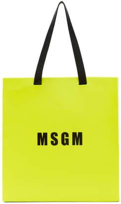 MSGM Yellow Large Logo Tote