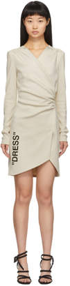 Off-White Off White Beige Side Opening Mini Dress