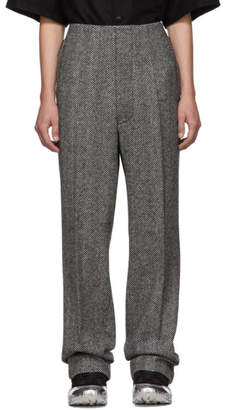 Maison Margiela Black and White Herringbone Wool Fireman Trousers