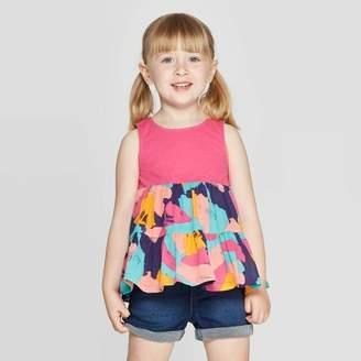Cat & Jack Toddler Girls' Knit Woven Blouse - Cat & JackTM Pink