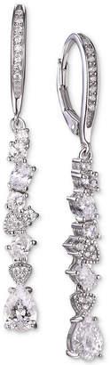 Tiara Cubic Zirconia Cluster Drop Earrings in Sterling Silver
