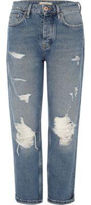 River IslandRiver Island Womens Mid blue wash ripped loose boyfriend jeans