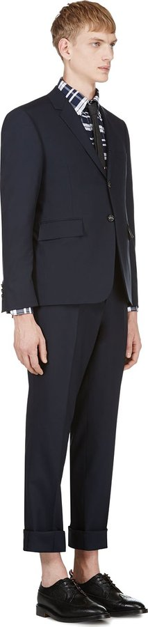 Thom Browne Navy Fine Wool Basic Body Suit